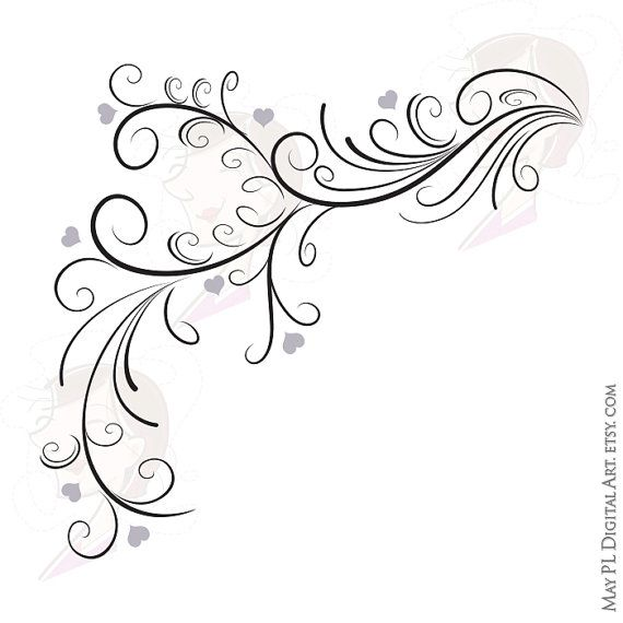 Elegant wedding clipart clip black and white download Swirl Border Png Vector Clipart - easily insert these Digital ... clip black and white download