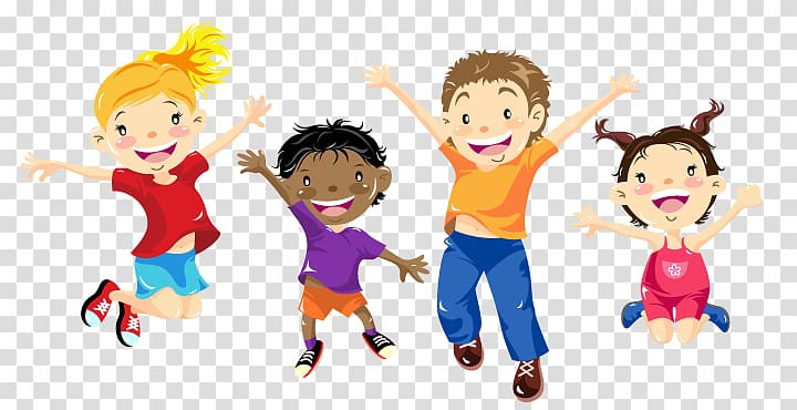 Elementary school kids clipart clipart stock Four children jumping illustration, After-school activity Elementary ... clipart stock