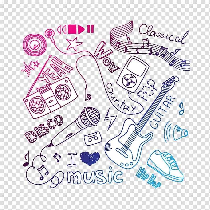 Elements of music clipart vector library download Music Doodle , Musical elements transparent background PNG clipart ... vector library download