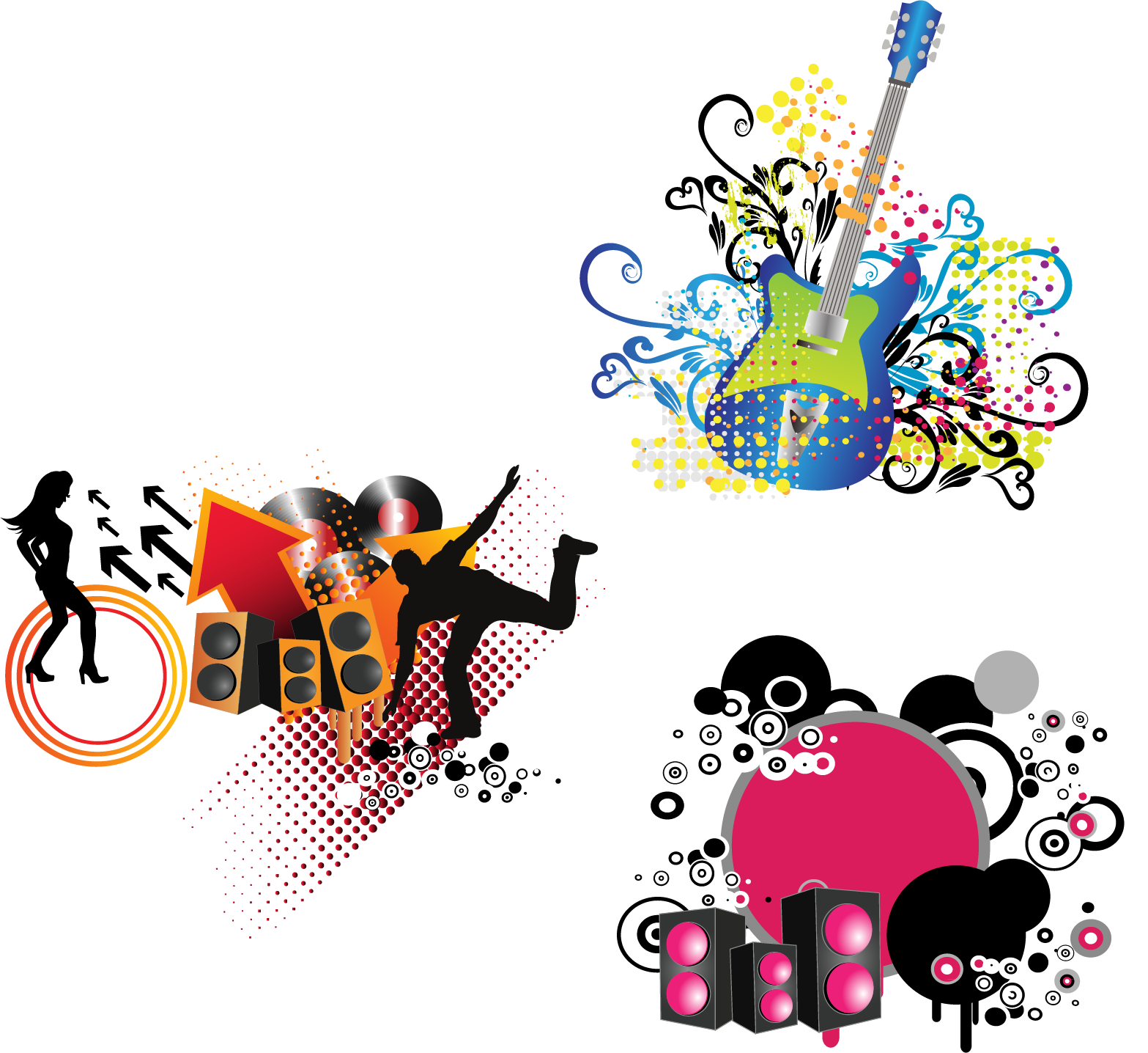 Elements of music clipart library Musical note Clip art - Acoustic guitar dancing PNG vector elements ... library