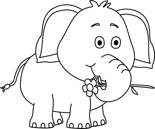 Elephant black and white clipart picture transparent stock Cute Elephant Drawings | Black and White Elephant with a Flower Clip ... picture transparent stock