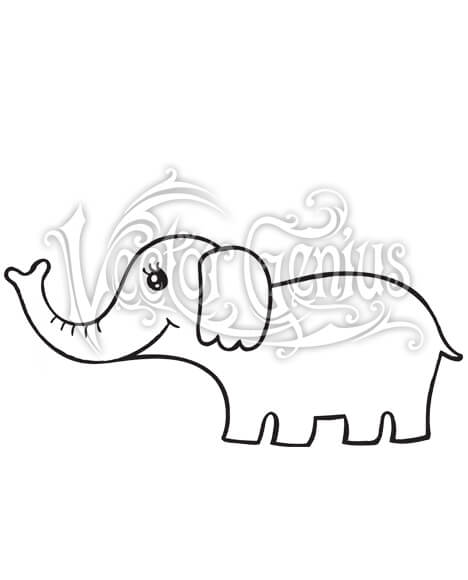 Elephant clipart vector picture black and white library High Resolution Cute Girl Elephant Clip Art Stock Art picture black and white library