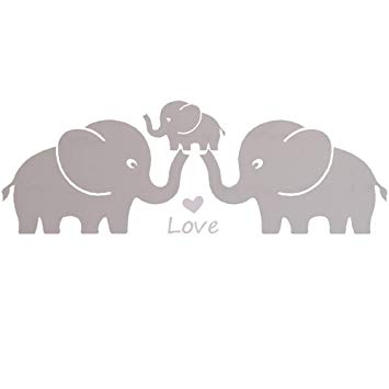 Elephant family clipart svg royalty free stock MAFENT Three Cute Elephant Family Wall Decal with Love Hearts Quote Art  Baby or Nursery Wall Decor Bedroom Decoration (Grey, Small) svg royalty free stock