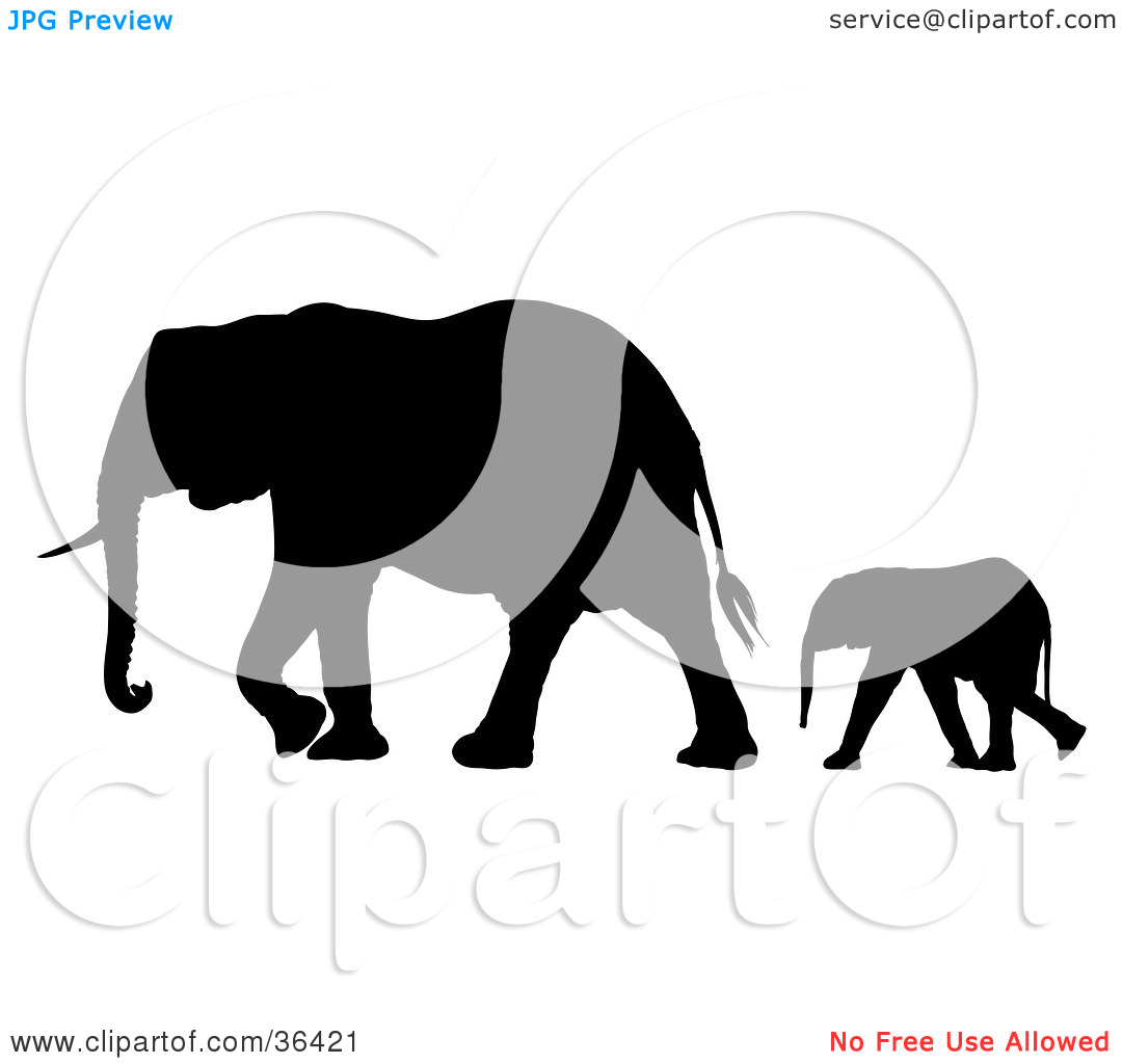 Elephant following elephant clipart clip art freeuse library Clipart Illustration of a Black Silhouetted Baby Elephant ... clip art freeuse library