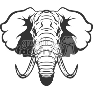 Elephant head clipart black and white