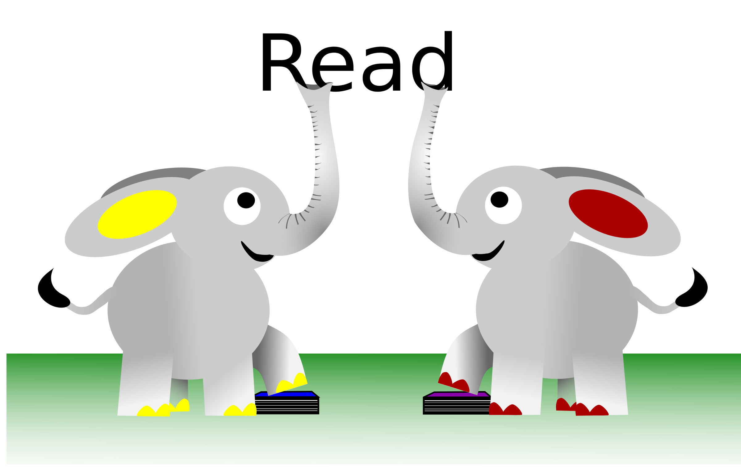Elephant reading a book clipart banner black and white Clipart - READ Elephants banner black and white