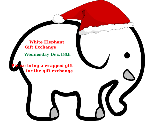 Elephant santa hat public domain clipart clip art transparent library White Elephant With Red Bow Clip Art at Clker.com - vector clip art ... clip art transparent library