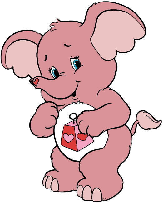 Elephant with heart clipart. Care bears and cousins