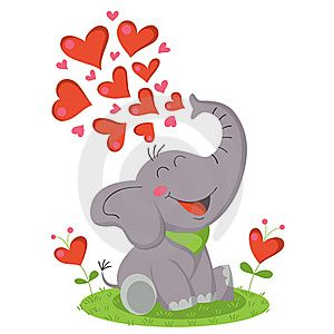 Elephant with hearts clipart vector freeuse Cute elephant blowing hearts. | Beautiful body art | Pinterest ... vector freeuse