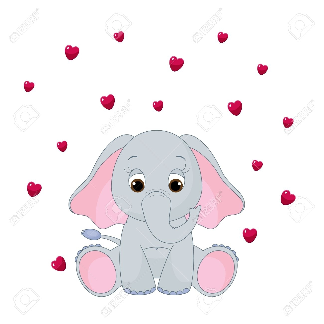 Elephant with hearts clipart transparent stock Elephant With Heart Clipart - clipartsgram.com transparent stock