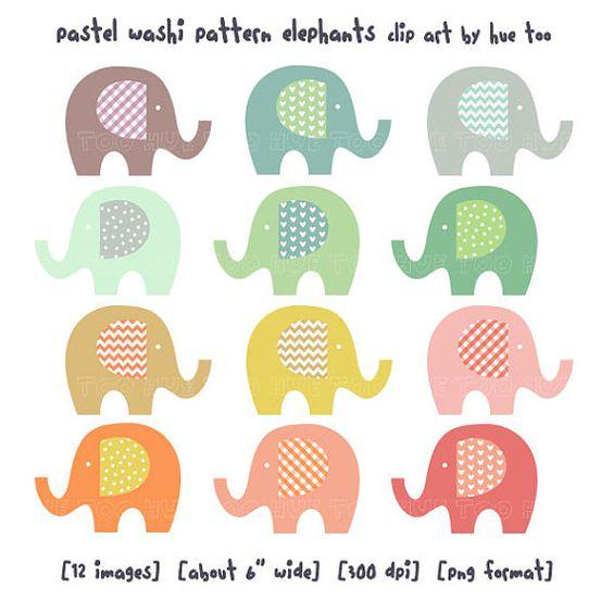 Elephant with hearts clipart image freeuse Elephant clip art, baby elephant clipart, pastel washi tape ... image freeuse