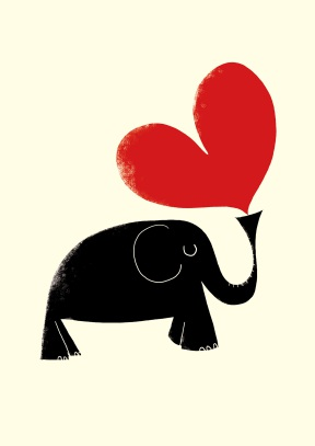 Elephant with hearts clipart vector royalty free library Elephant and Heart | Romantic Card | Scribbler Cards vector royalty free library
