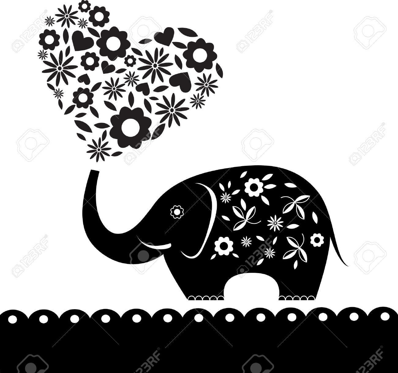 Elephant with hearts clipart svg free library Cute Elephant With Flowers. Heart Card. Illustration. Royalty Free ... svg free library