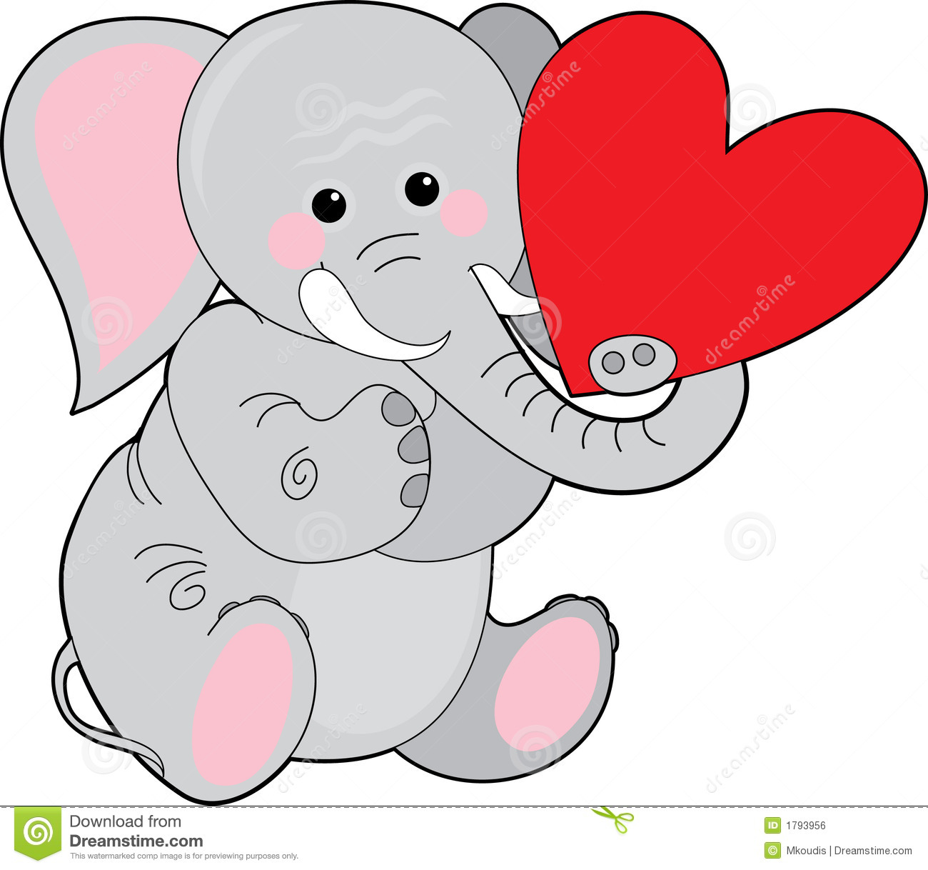 Elephant with hearts clipart picture download Elephant with heart clipart - ClipartFest picture download