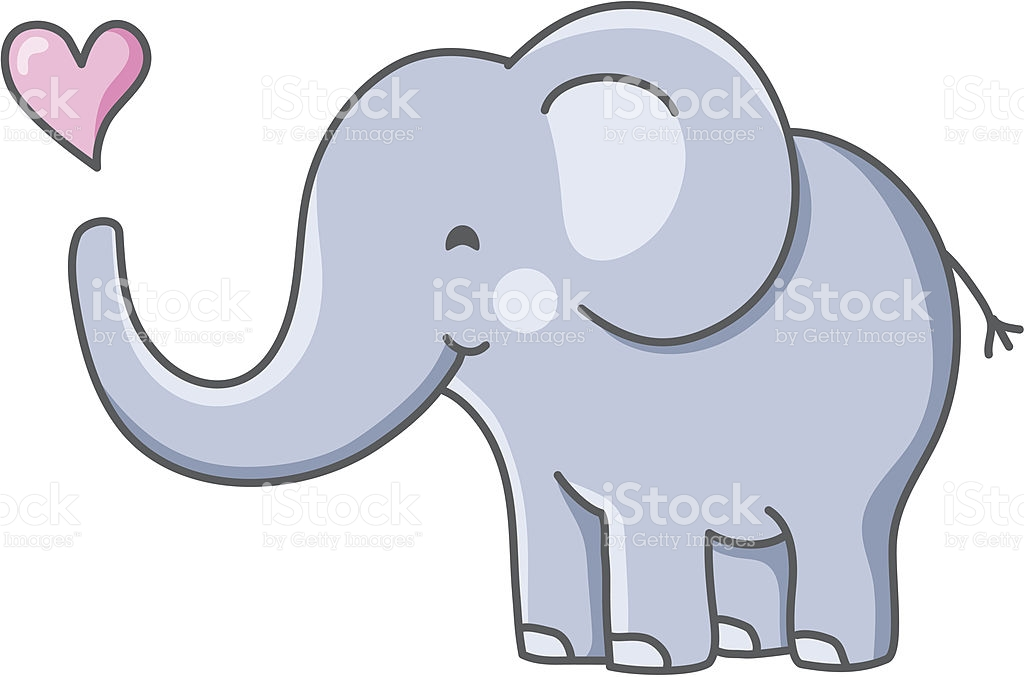 Elephant with hearts clipart clipart free download Adorable Baby Elephant With Heart stock vector art 165750677 | iStock clipart free download