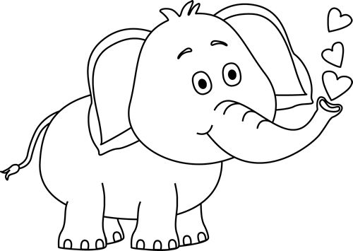 Elephant with hearts clipart jpg transparent Black and White Elephant Blowing Hearts Clip Art - Black and White ... jpg transparent