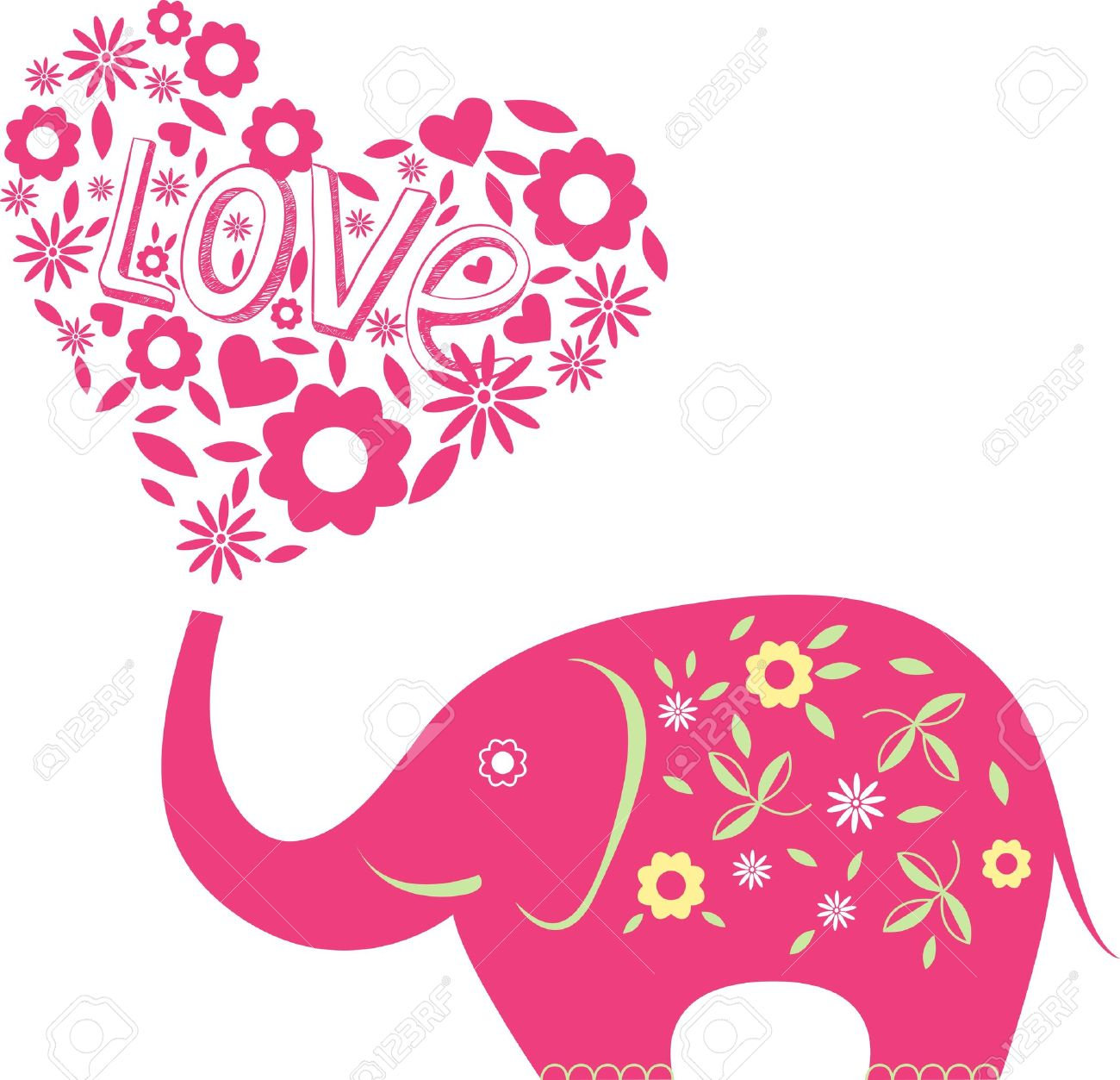 Elephant with hearts clipart clip free Abstract Illustration With Elephant And Hearts Royalty Free ... clip free