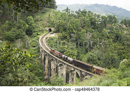 Ella mountains clipart vector freeuse download Train on a stone brigde in the mountains, Ella, Sri Lanka vector freeuse download