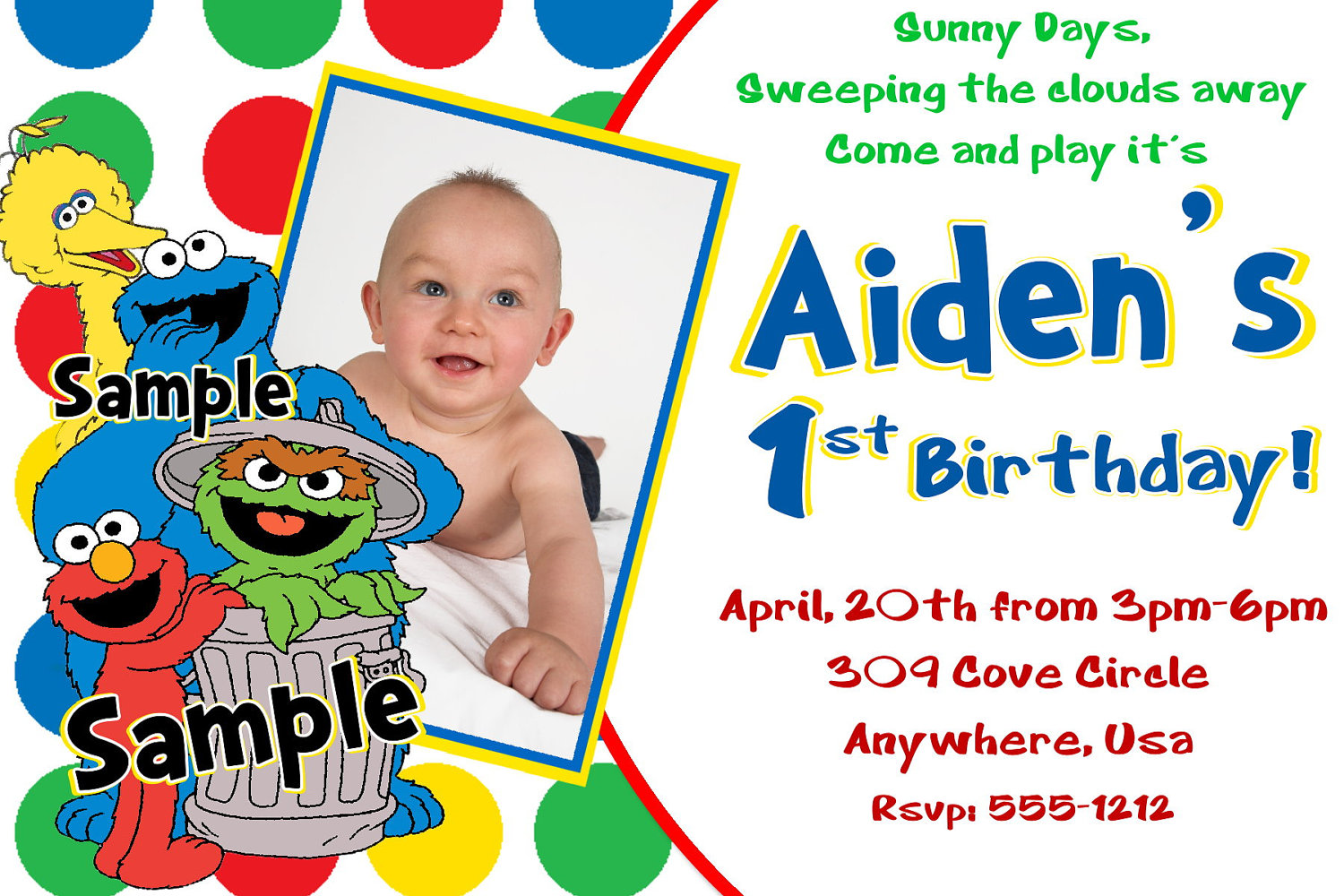 Elmo 1st birthday clipart clip free library Sesame Street Birthday Invitations Elmo Cookie Monster Big clip free library