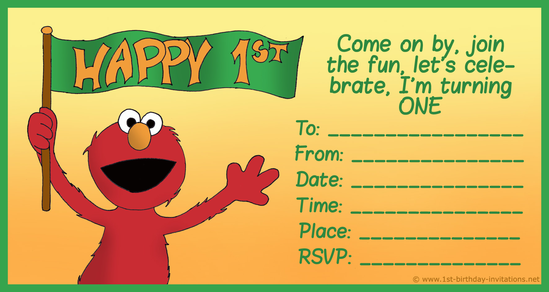 Elmo 1st birthday clipart svg library How to Create Birthday Invitations and Cards | 1st Birthday ... svg library