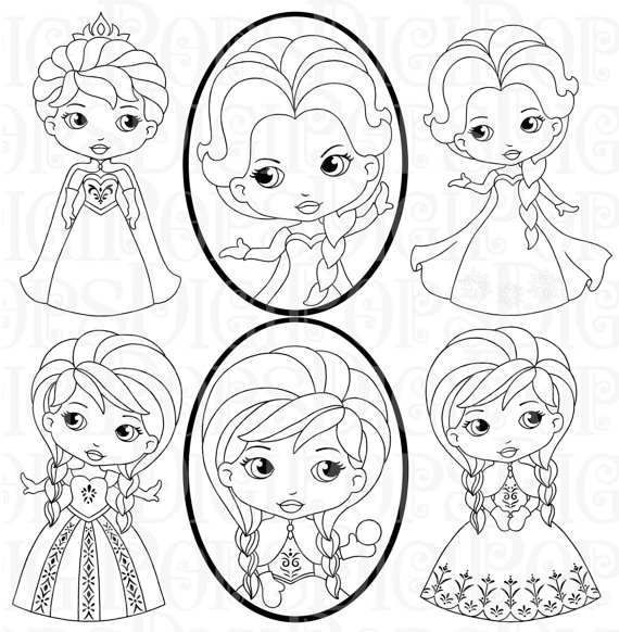 Princess black and white clipart jpg library download SNOW PRINCESS Black and White Digital Clip Art Set -Personal and ... jpg library download