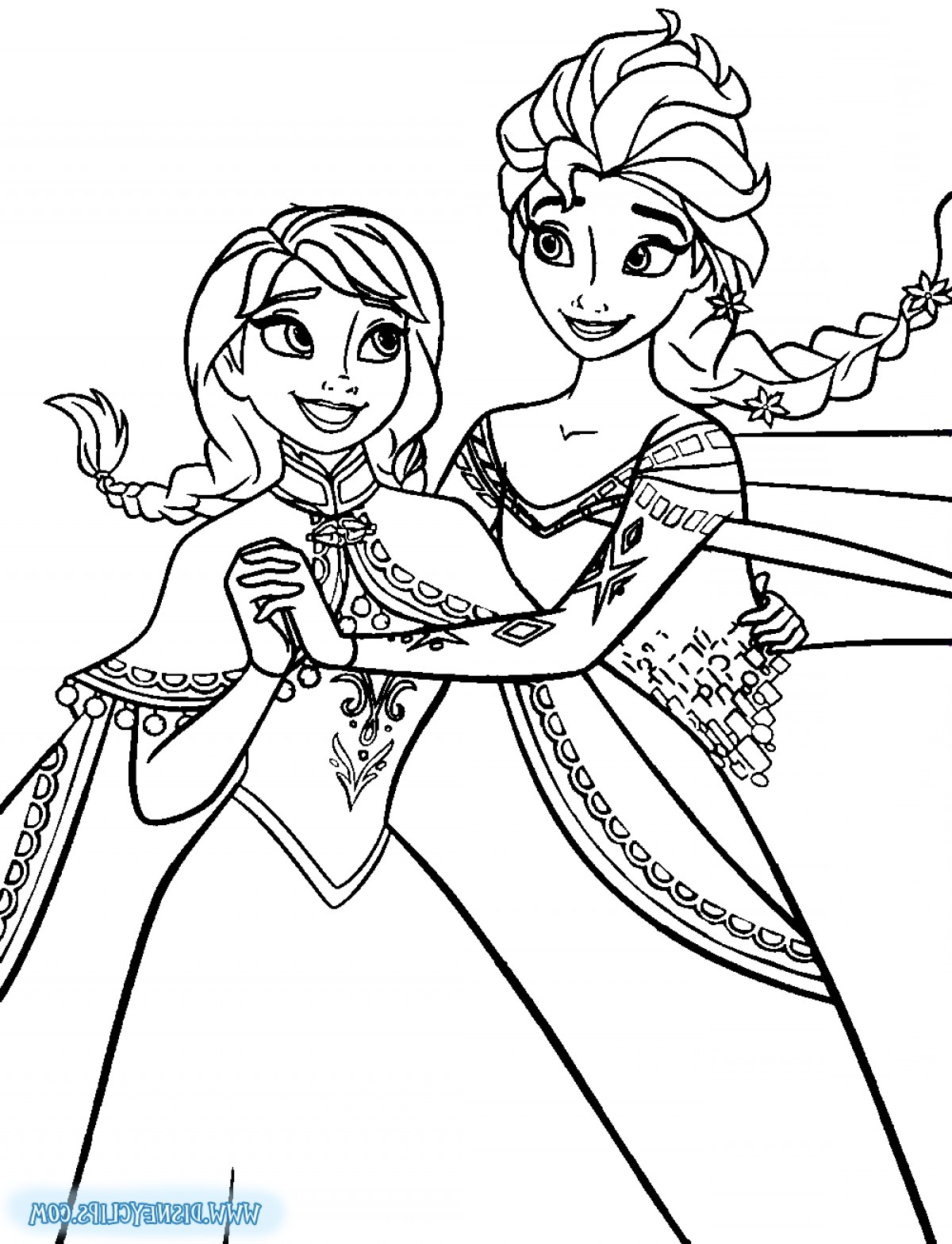 Elsa clipart black and white picture library download Crowning Clipart Frozen Coloring Page Elsa | SOIDERGI picture library download