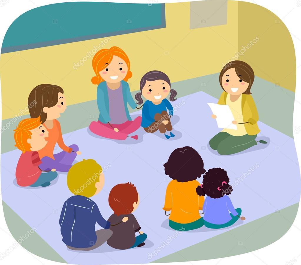 Eltern mit kind clipart clip art Eltern und Kinder Klasse-Aktivität — Stockfoto © lenmdp #51514351 clip art