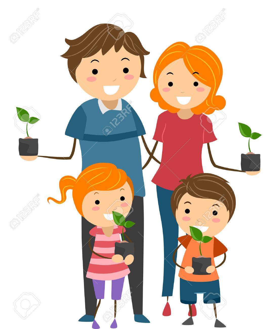 Eltern mit kind clipart image transparent Illustration Der Eltern Und Deren Kinder, Die Jungpflanzen In ... image transparent