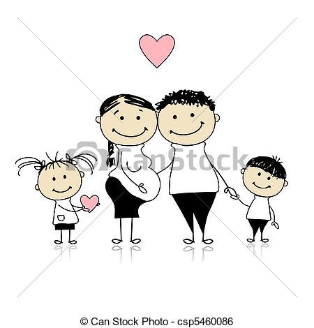 Eltern mit kind clipart image Clip Art Vektor von Warten, eltern, Schwangerschaft, Kinder ... image
