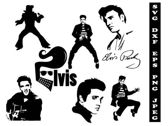 Elvis the king clipart black and white library Elvis Presley svg, celebrity svg, celebrity clipart, Elvis Presley ... black and white library