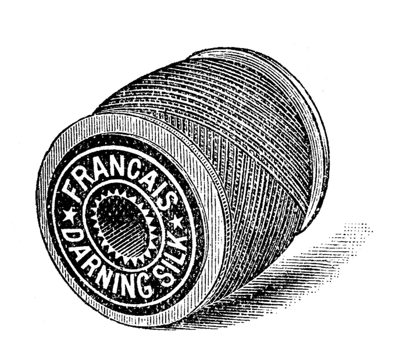 Vintage spool of thread clipart banner black and white stock Vintage Sewing Clip Art - Thread - Embroidery - The Graphics Fairy banner black and white stock