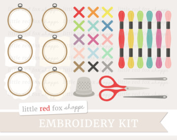 Embroidery thread clipart clip art stock Embroidery Kit Clipart; Crafting, Sewing, Knitting, Hoop, Yarn, Thread clip art stock