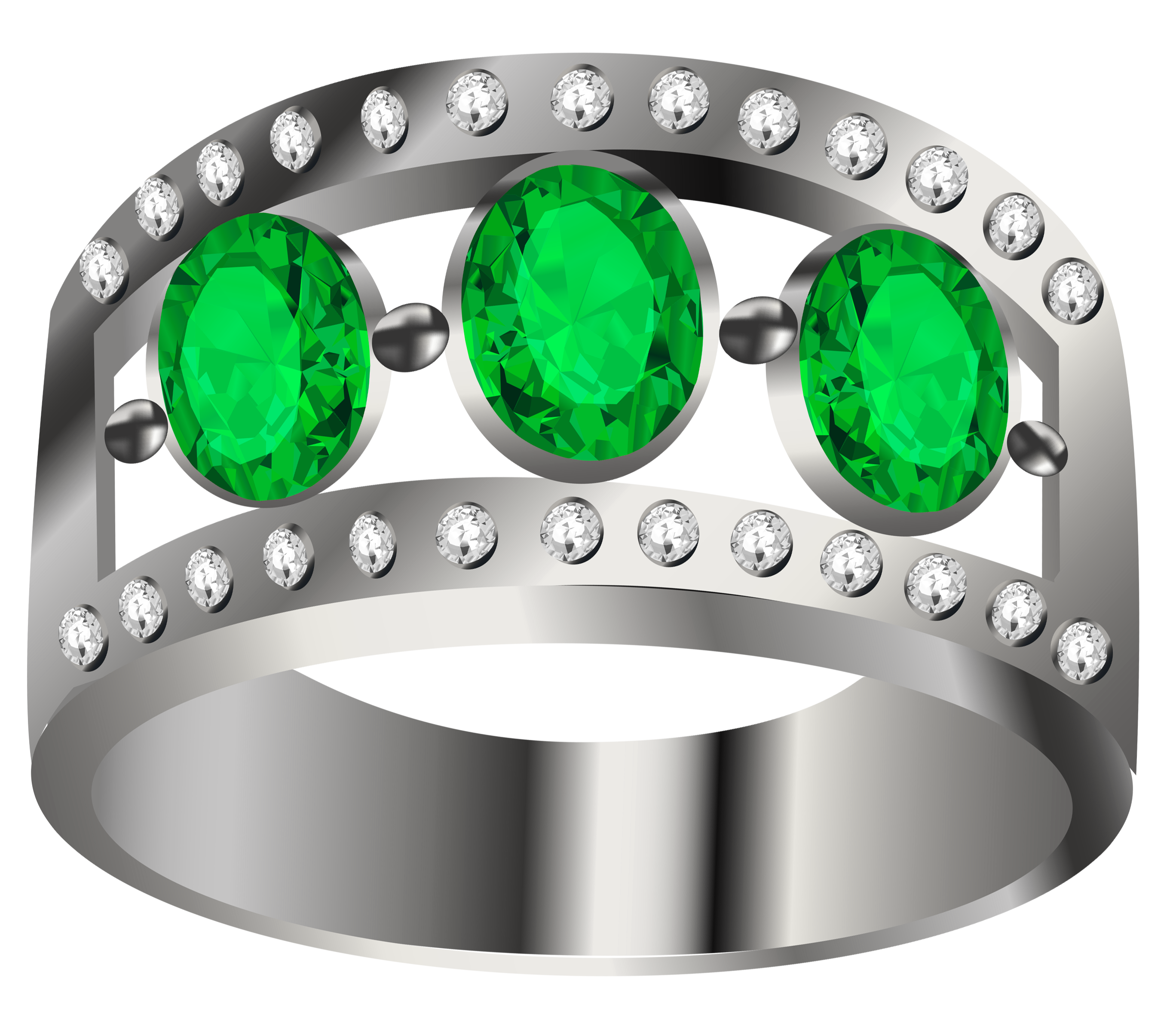 Emerald ring clipart graphic black and white Silver Ring with Emeralds PNG Clipart | Gallery Yopriceville - High ... graphic black and white