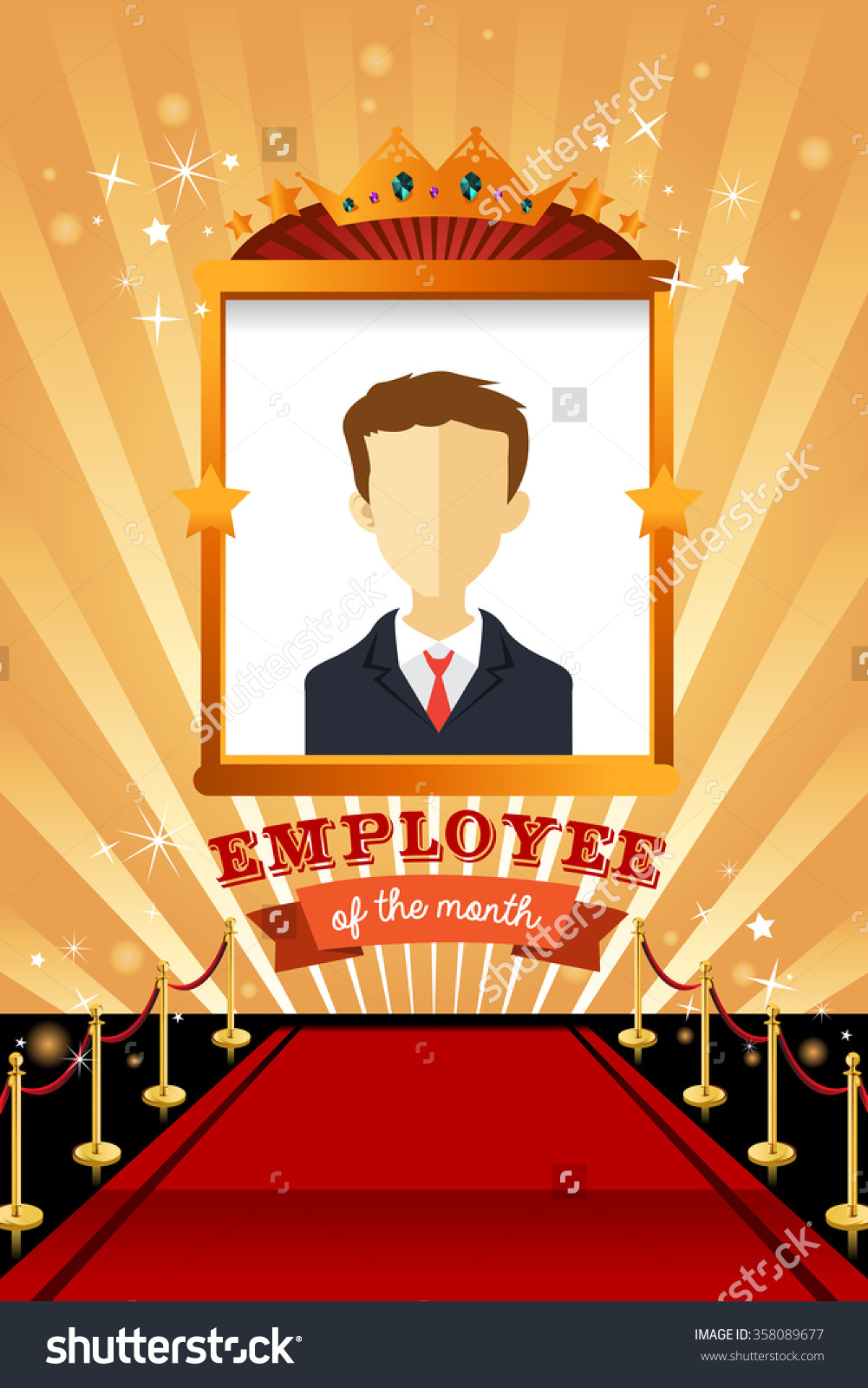 Vector Illustration Employee Month Poster Frame Stock Vector ... image royalty free library
