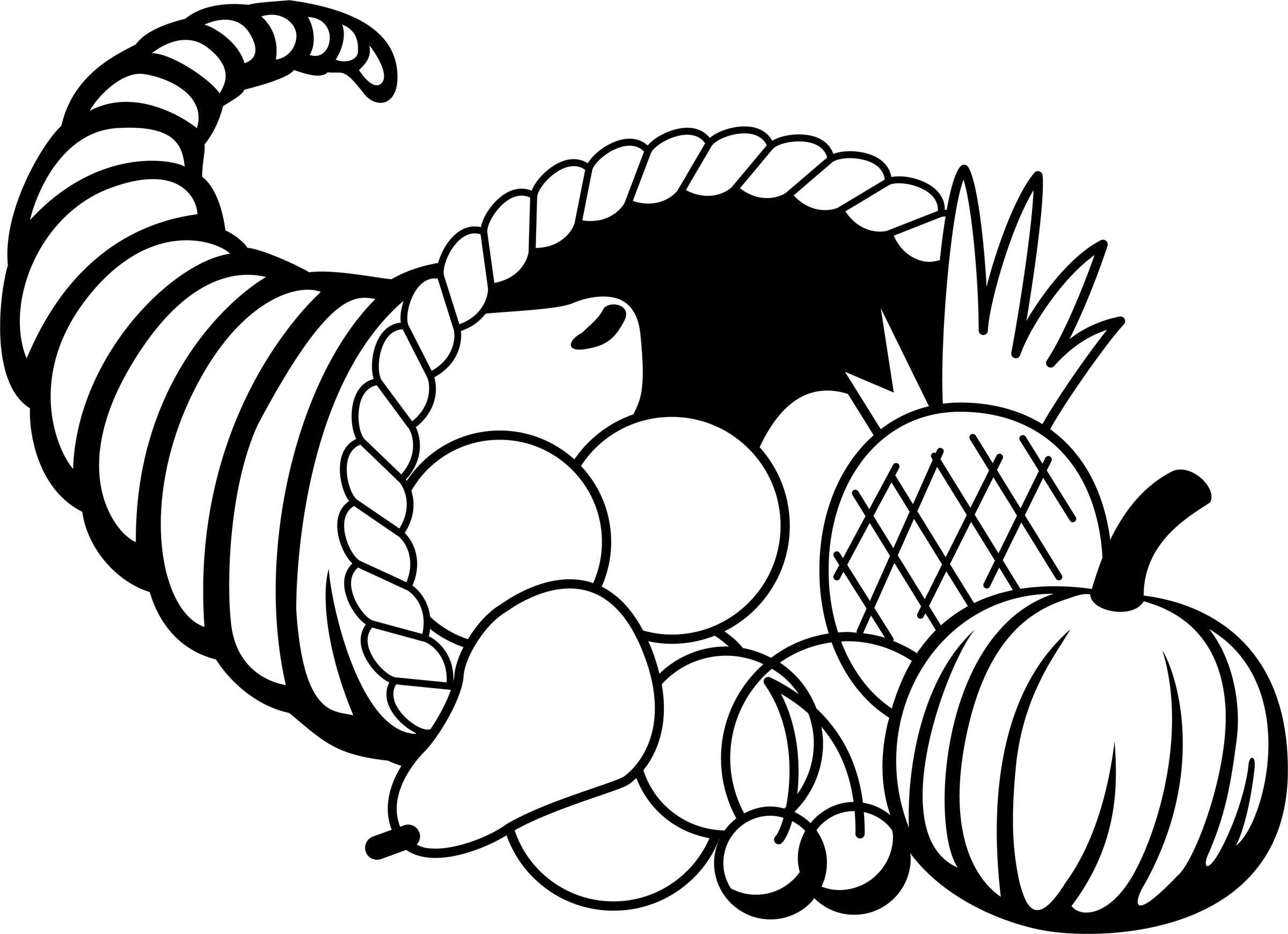 Horn of plenty clipart black and white graphic Free Thanksgiving Cornucopia Pictures, Download Free Clip Art, Free ... graphic