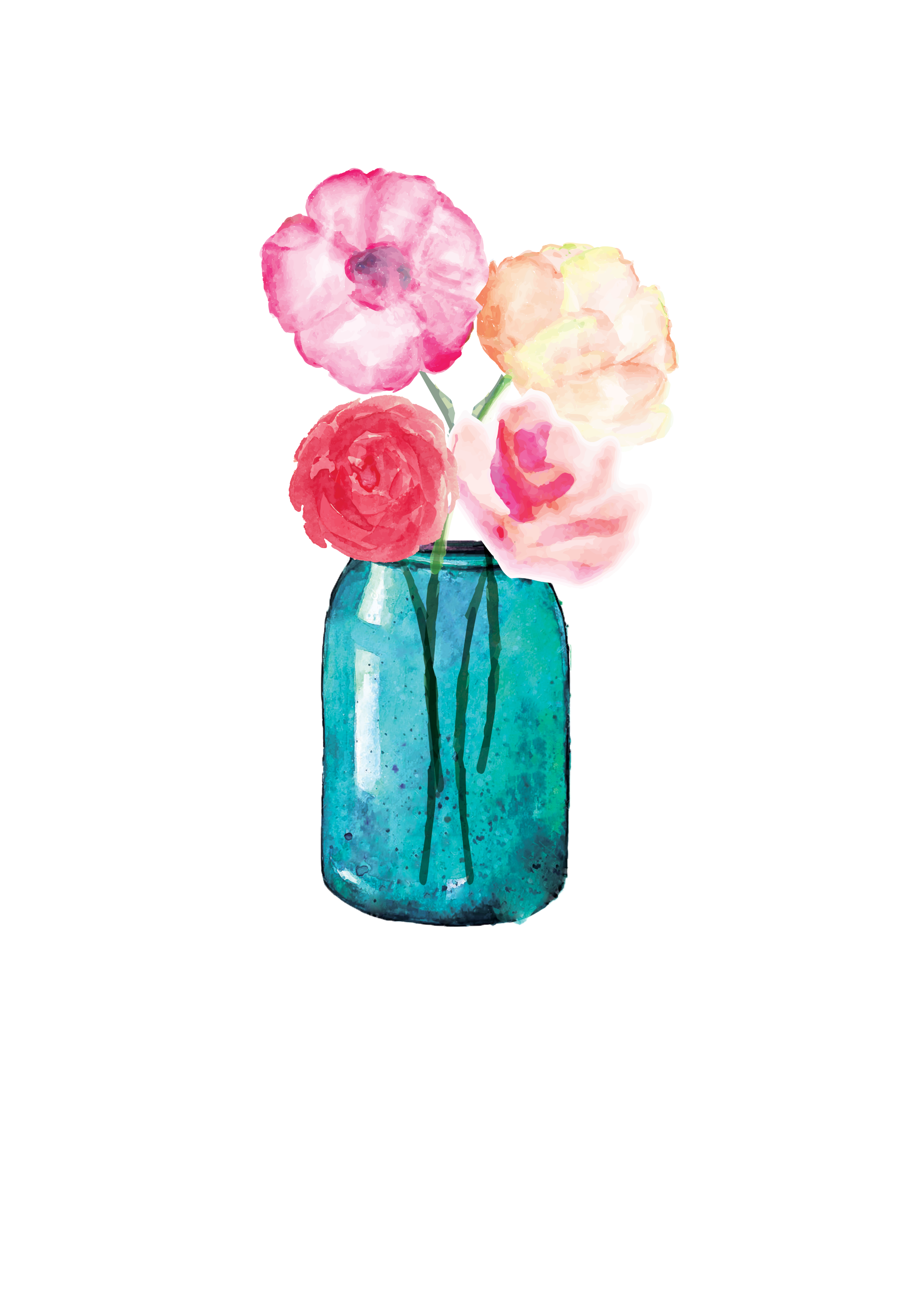 Mason jar flower clipart jpg download Lauren Baxter : Flowers in a Mason Jar | Watercolor | Pinterest ... jpg download