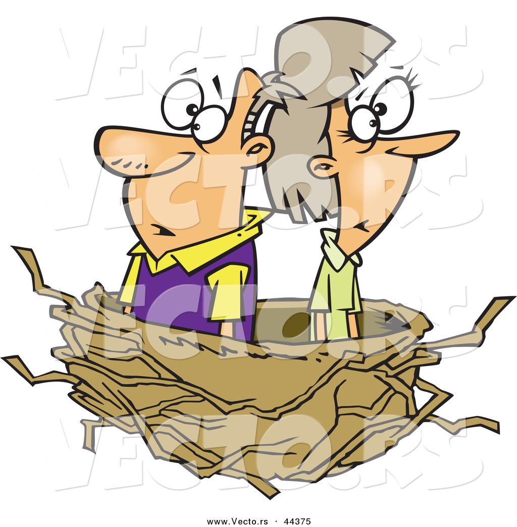 Empty nest pictures clipart clip Vector of a Middle Aged Cartoon Couple in an Empty Nest by toonaday ... clip
