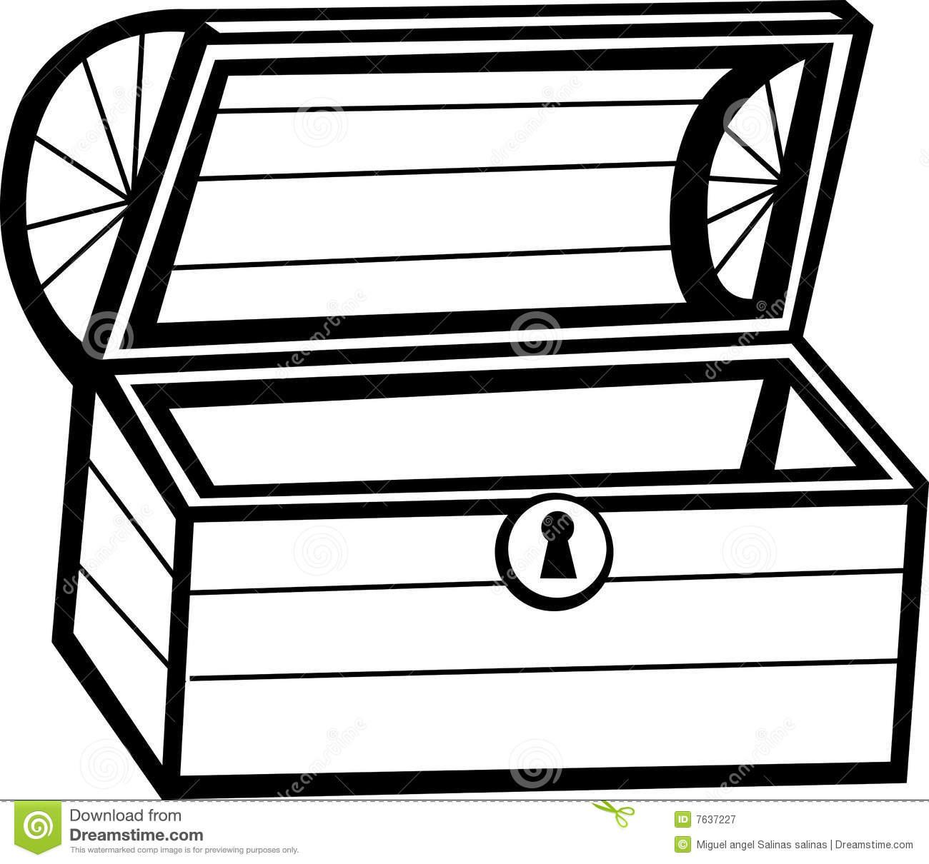 Empty open treasure chest clipart black and white vector transparent library Pirate Treasure Chest Drawing | Free download best Pirate Treasure ... vector transparent library