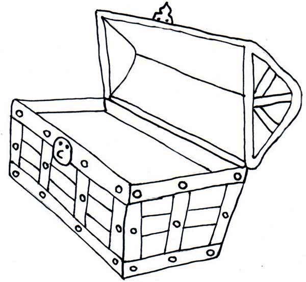 Empty open treasure chest clipart black and white banner stock Open Treasure Chest Coloring Page | Kiddos! | Treasure chest craft ... banner stock