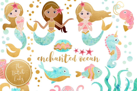 Enchanted clipart jpg royalty free library Enchanted Mermaid Ocean Clipart Set jpg royalty free library
