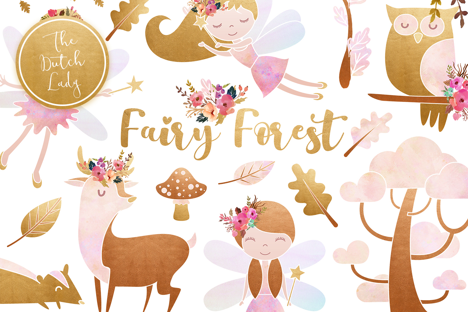 Enchanted clipart transparent library Enchanted Fairy Forest Clipart Set - Vsual transparent library