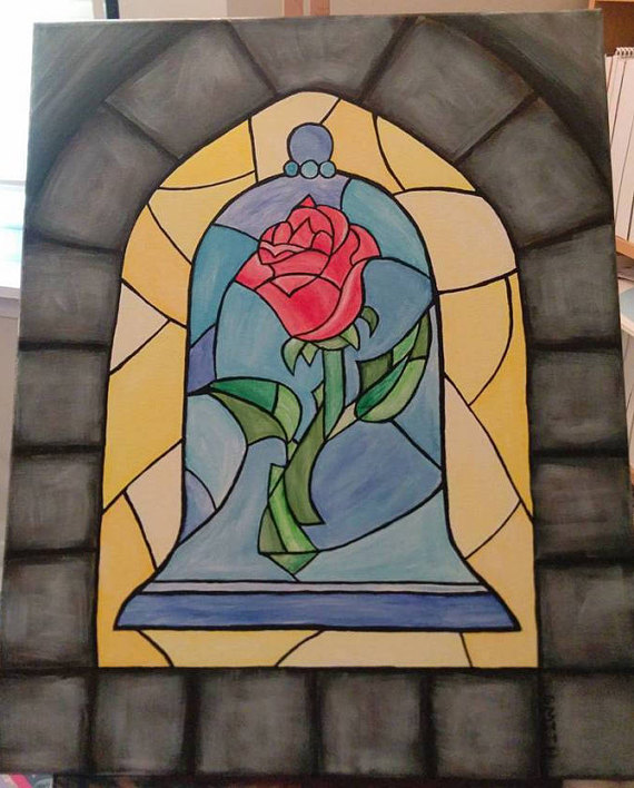 Enchanted rose beauty and the beast stained glass clipart banner library Beauty and the Beast Enchanted Rose Stained Glass Acrylic Painting ... banner library