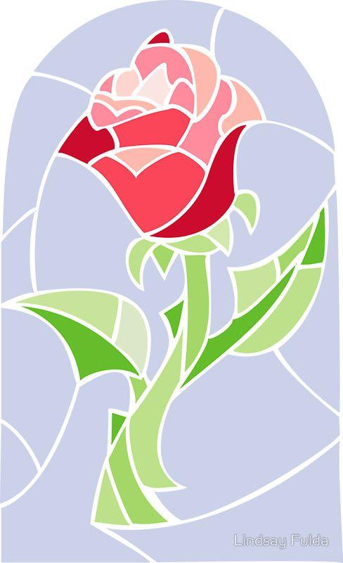 Redbubble enchanted rose cliparts svg freeuse library Sticker \'Stain Glass Rose - La Belle et la Bête\' par Lindsay Fulda ... svg freeuse library