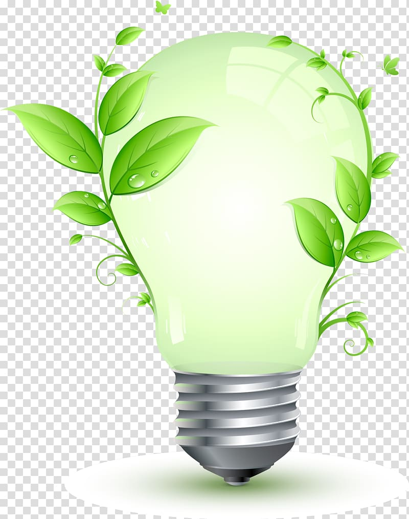 Energy saving clipart banner freeuse library Incandescent bulb with plant illustration, Energy conservation ... banner freeuse library