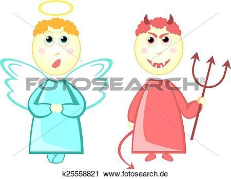 Engelchen und teufelchen clipart clip transparent Clipart - karikatur, wenig engel, und, teufel k25558821 - Suche ... clip transparent