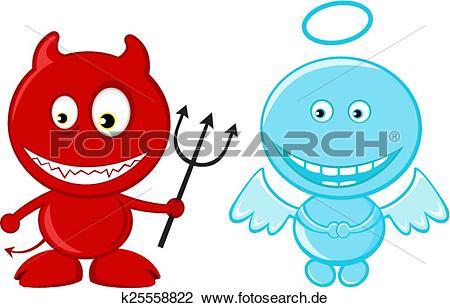 Engelchen und teufelchen clipart clipart freeuse Clipart - niedlich, wenig engel, und, teufel k25558822 - Suche ... clipart freeuse