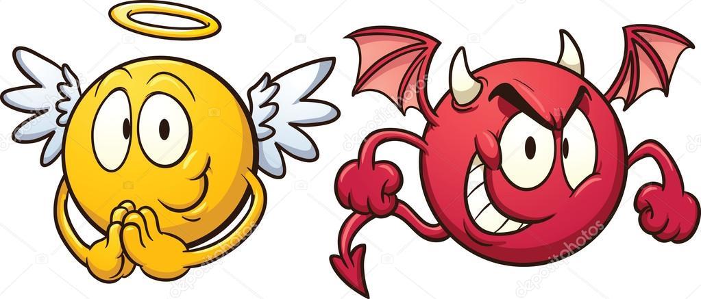 Engelchen und teufelchen clipart clip art free download Engel und Teufel emoticons — Stockvektor © memoangeles #33088515 clip art free download