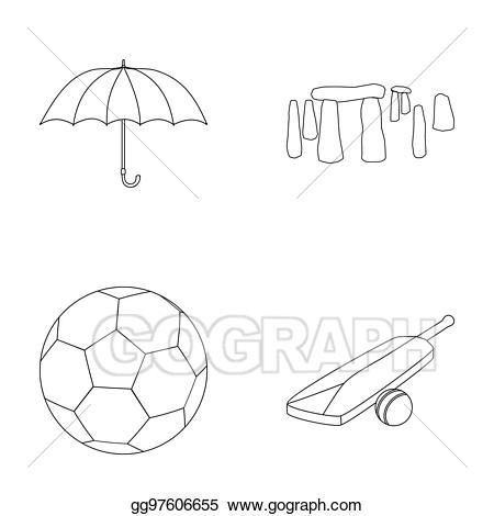 England country outline clipart black and white jpg royalty free stock Clipart - Umbrella, stone, ball, cricket. england country set ... jpg royalty free stock