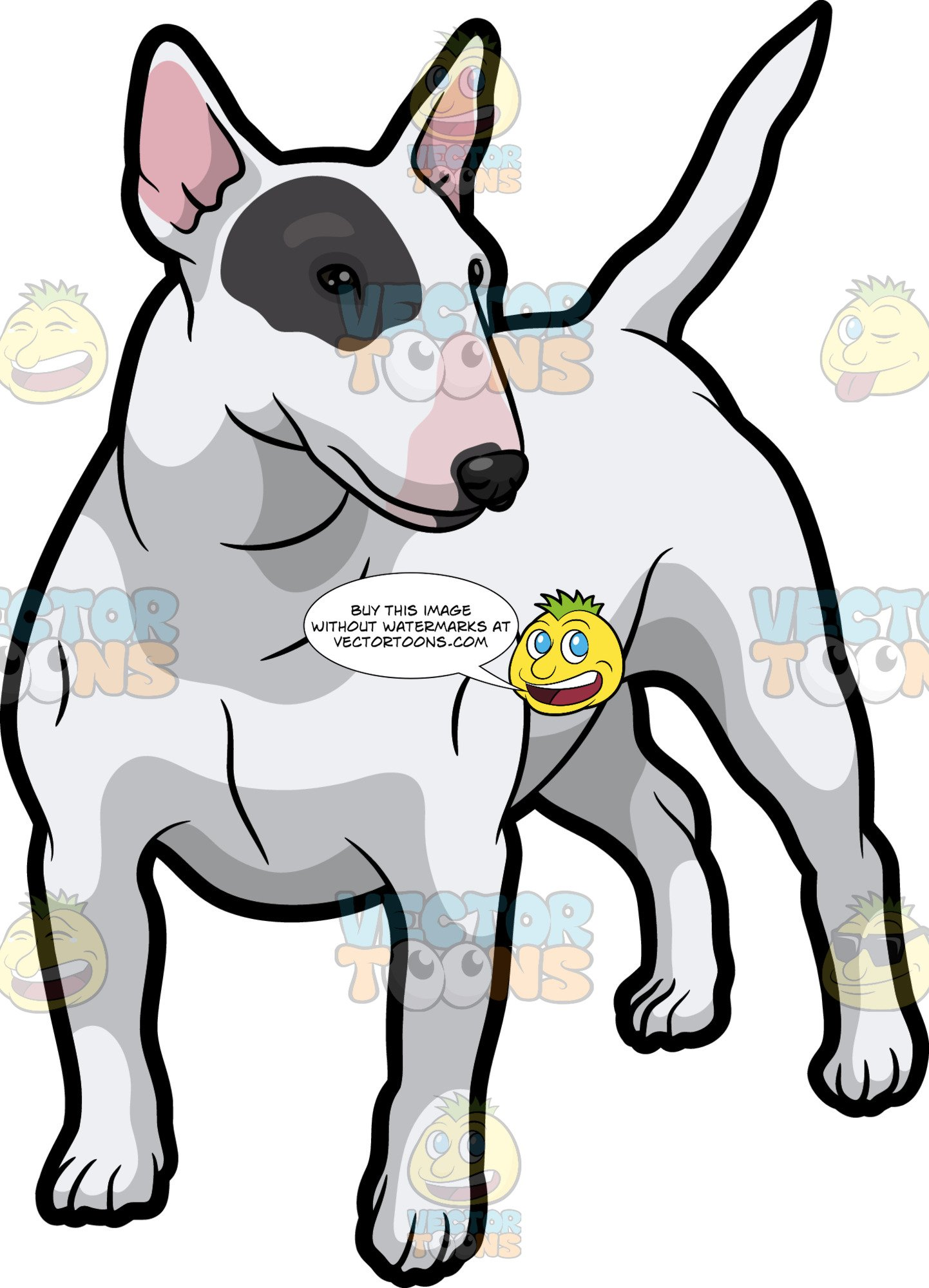 English bull terrier clipart black and white graphic library download A White Bull Terrier With A Black Patch Over One Eye graphic library download