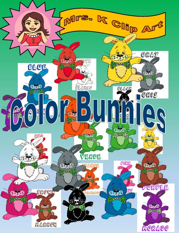 Color Bunnies in Spanish and English clip art | Mrs Ks Clip Art ... clipart stock